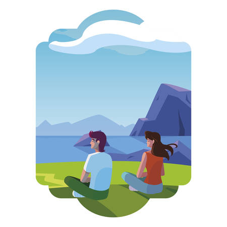 couple contemplating the horizon in the field scene vector illustration design Illustration