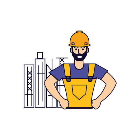worker construction man with cityscape vector illustration design