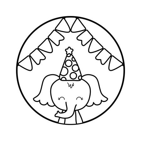cute elephant with hat party in frame circular vector illustration design Foto de archivo - 129229664