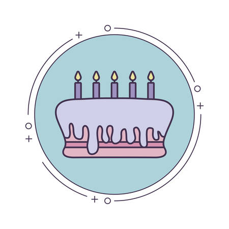 cake of birthday in frame circular vector illustration design Stock Illustratie