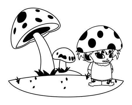 fungu elf in garden magic character vector illustration design Standard-Bild - 129229724