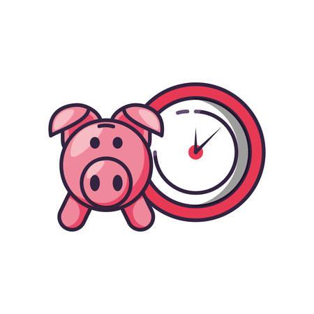 clock time with piggy bank vector illustration design
