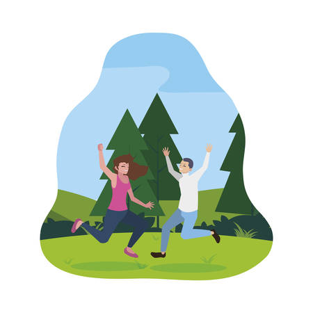 happy young couple celebrating in the camp vector illustration design Standard-Bild - 129229868