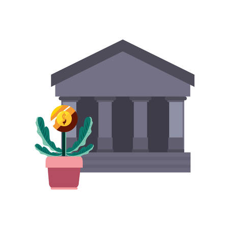 bank potted plant coin on white background vector illustration