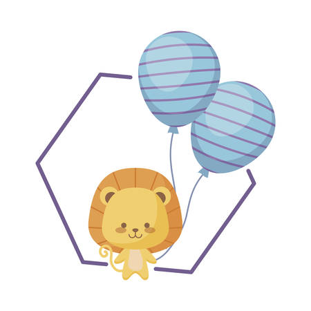 cute lion with balloons helium vector illustration design Banque d'images - 129201549