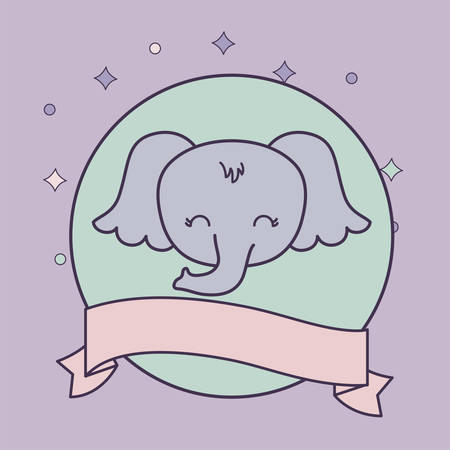 head of cute elephant animal with ribbon vector illustration design Foto de archivo - 129229875