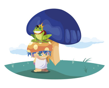 toad prince and fungu elf in garden vector illustration design Stockfoto - 129229880