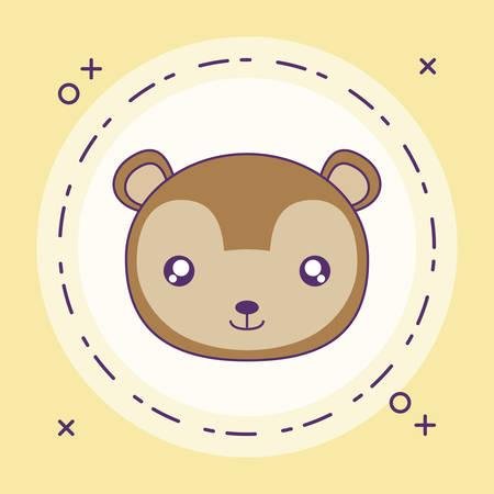 cute little monkey baby in frame circular vector illustration design Foto de archivo - 129230116