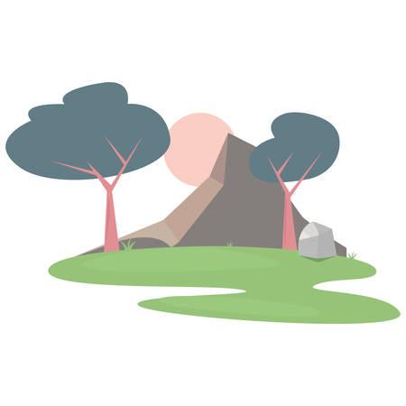 landscape forest trees botanical natural vector illustration Standard-Bild - 129230128