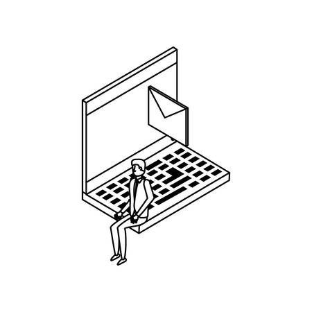 businessman worker with laptop and envelope vector illustration design Foto de archivo - 129230132