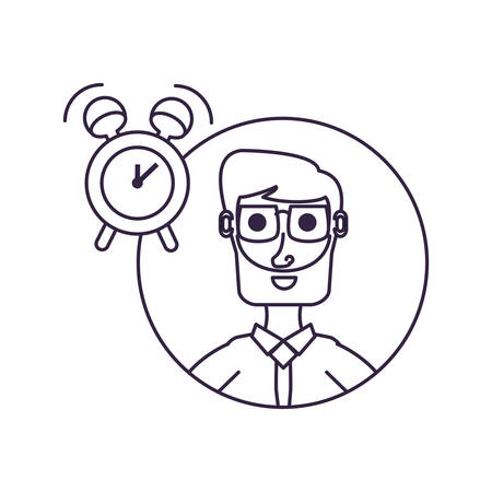 businessman elegant in frame circular with alarm clock vector illustration design