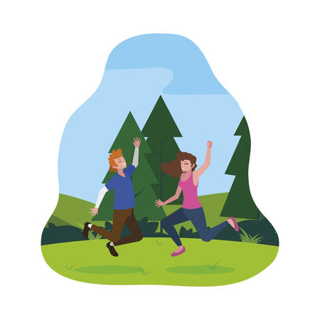 happy young couple celebrating in the camp vector illustration design Standard-Bild - 129230250