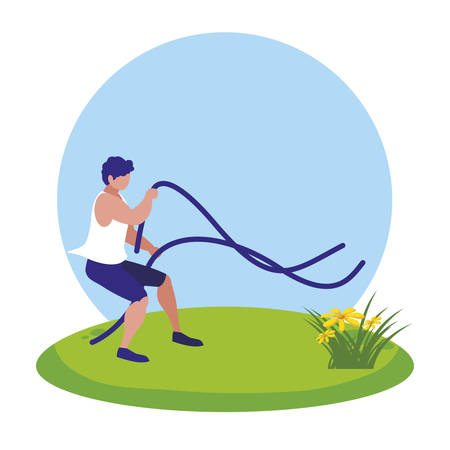 athletic man practicing exercice with elastics bands in the camp vector illustration Stock Illustratie