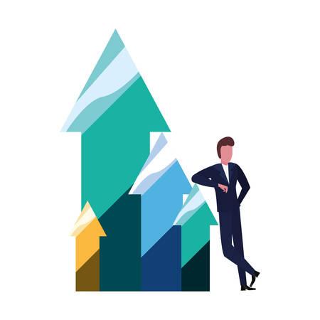 businessman arrows up finance diagram vector illustration