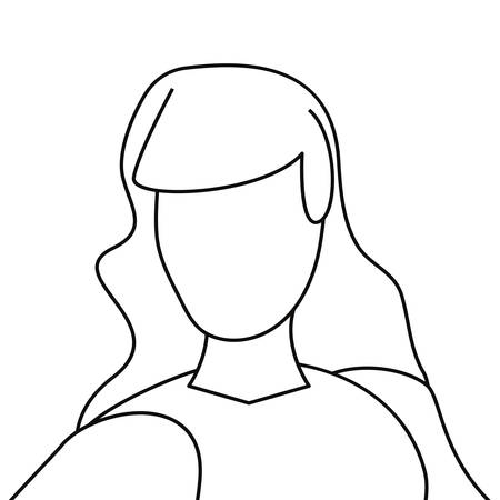 woman avatar line on white background vector illustration