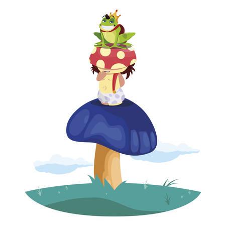 toad prince and fungu elf in garden vector illustration design Stockfoto - 129230559