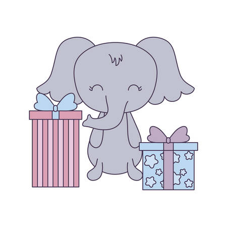 cute elephant with gift boxes vector illustration design Stock Illustratie