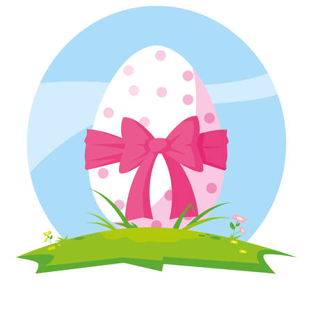 decorated easter egg with bow in grass vector illustration design Stock Illustratie