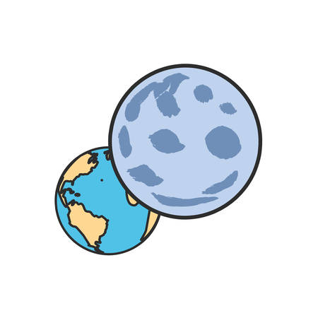 planet earth with moon isolated icon vector illustration design
