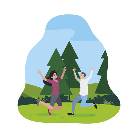 happy young couple celebrating in the camp vector illustration design Standard-Bild - 129231769