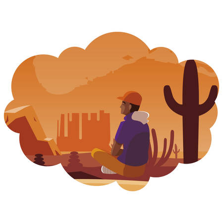 afro man contemplating horizon in the desert scene vector illustration design Ilustracja