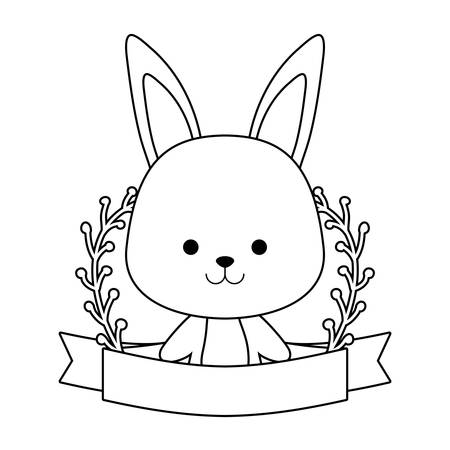 cute rabbit with ribbon and branches of leafs vector illustration design