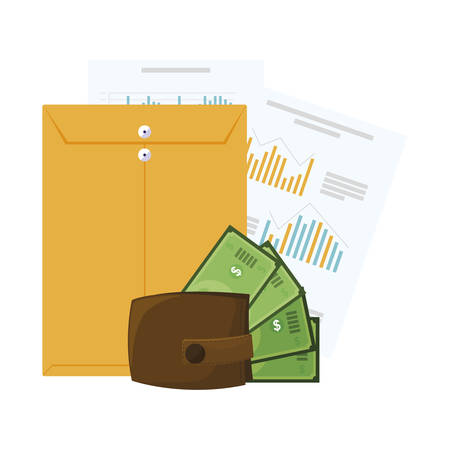 wallet with bills dollars and manila envelope vector illustration design