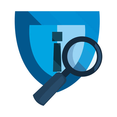 shield magnifier analysis cybersecurity data protection vector illustration Ilustracja