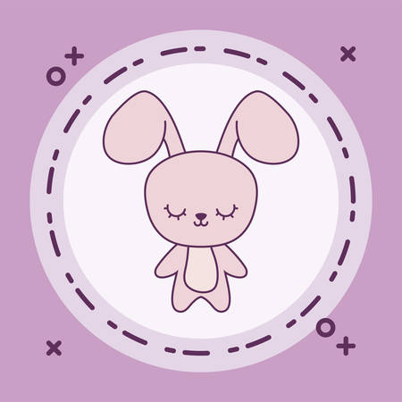 cute rabbit animal with frame circular vector illustration design Foto de archivo - 129232108