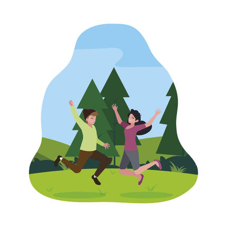 happy young couple celebrating in the camp vector illustration design Ilustracja