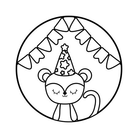 cute monkey with hat party in frame circular vector illustration design Foto de archivo - 129232166