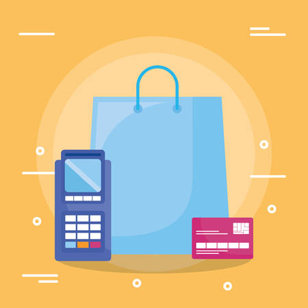 shopping bag with credit card and voucher machine vector illustration design Foto de archivo - 129232175
