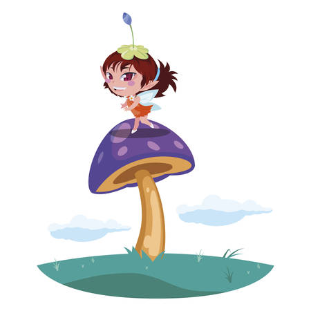 beautiful magic fairy in the camp vector illustration design Standard-Bild - 129227060
