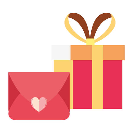 gift box mail love message vector illustration
