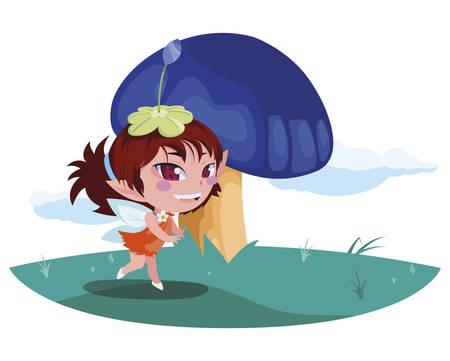 beautiful magic fairy in the camp vector illustration design Standard-Bild - 129227138