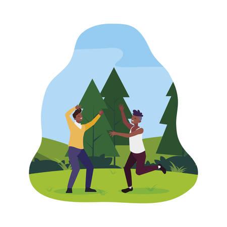 afro young men celebrating in the camp vector illustration design Иллюстрация