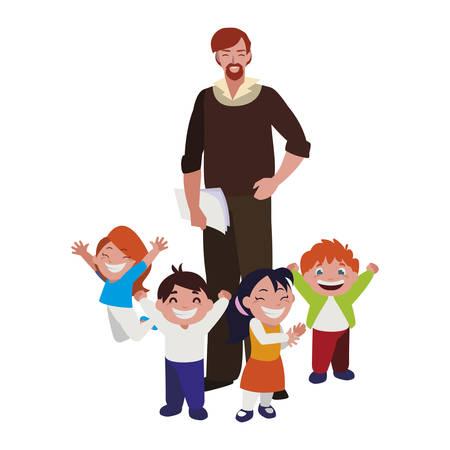 teacher male with kids students vector illustration design