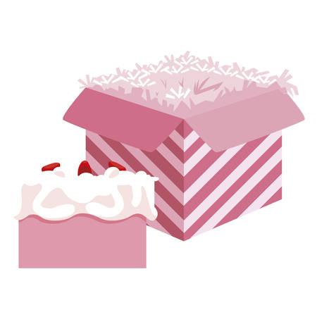 sweet cake birthday with packing box vector illustration design Ilustração