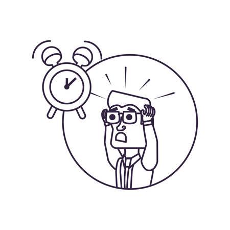 businessman stressed in frame circular with alarm clock vector illustration design Ilustração