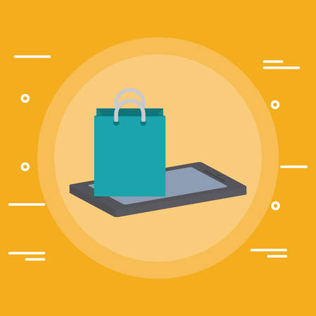 smartphone device with shopping bag vector illustration design