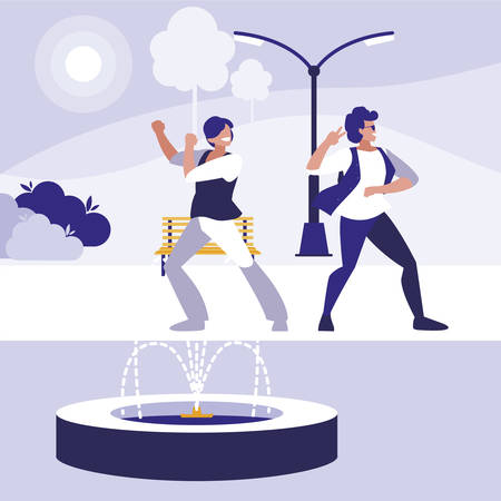 young dancers couple dancing in the park vector illustration design Standard-Bild - 129227182