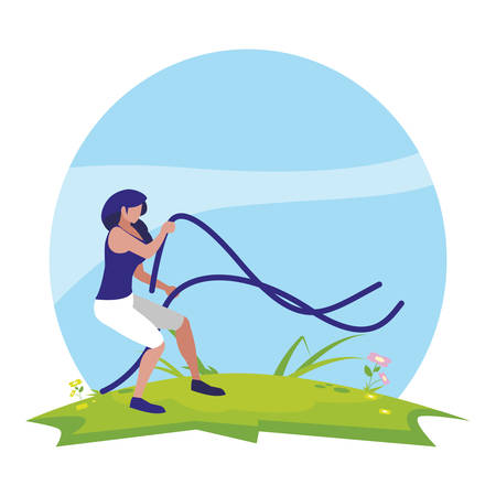 athletic woman practicing exercice with elastics bands in the camp vector illustration