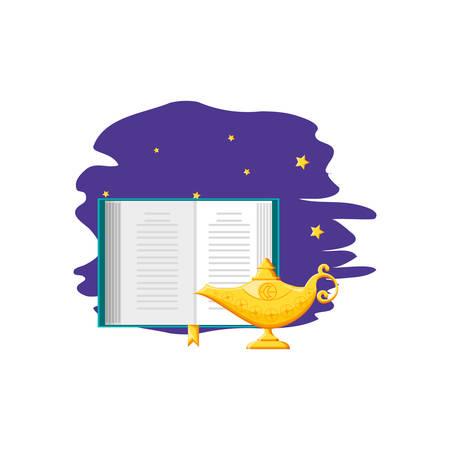 koran book with teapot ramadan kareem vector illustration design Illusztráció