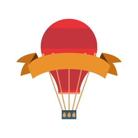 hot air balloon ribbon on white background vector illustration Stock Illustratie