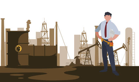 elegant engineer oil industry worker character vector illustration design
