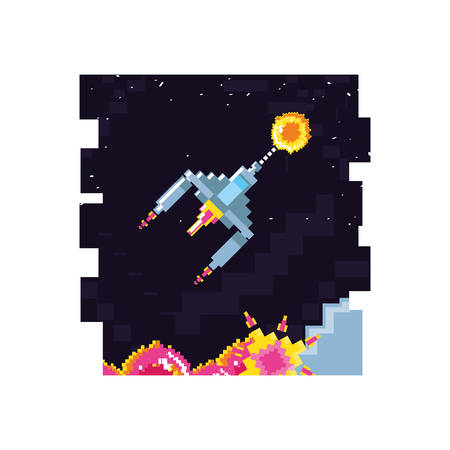 video game spaceship flying in stage scene pixelated vector illustration design