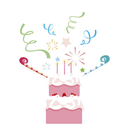 sweet cake birthday with candles vector illustration design Imagens - 129233537