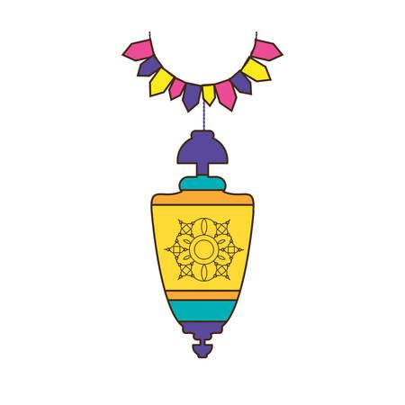 ramadan kareem lantern and garlands hanging vector illustration design