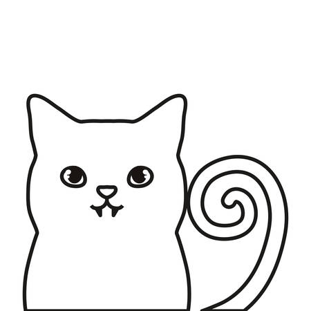 cat icon over white background, vector illustration