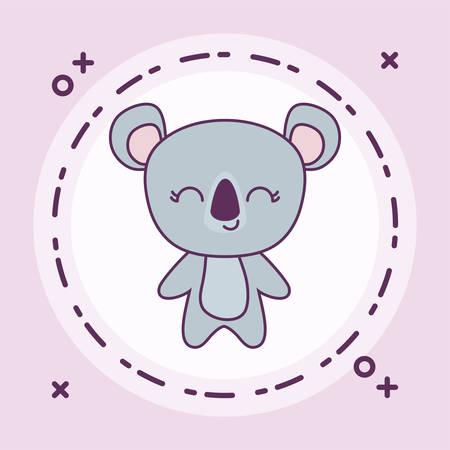 cute koala animal with frame circular vector illustration design Foto de archivo - 129232464
